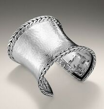 NWT $1350 JOHN HARDY Classic Chain Extra Wide Hammered Silver Palu Cuff Bracelet