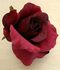 """3"""" Deep Red Rose Poly Silk Flower Hair Clip, Very Romantic, Wedding,Mothers Day"""