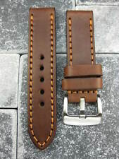 24mm NEW COW LEATHER STRAP Brown BAND LUM-TEC M51 M47 M44 M43 M33 Phantom
