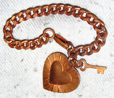 VINTAGE LINK SOLID COPPER BRACELET WITH HANDLING HEART & KEY CHARMS