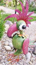 Garten Figur lustige Haare Vogel Papageno Metall bunt Deko  Windlicht  H58 cm