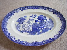 Willow Staffordshire England porcelain blue and white oval dish