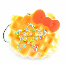 9CM Sprinkles Squishy Waffle Bow Biscuit Cellphone Strap Bread Fun Kid Toys
