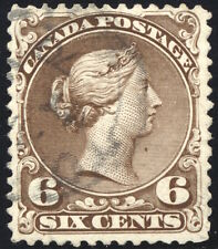 6¢ Brown Large Queen #27ii - SOFT WHITE PAPER - Dated MY 70 - F-VF Used