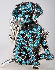 Dog stretch ring cute animal bling scarf jewelry gift dropshipping blue