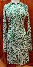 Diane von Furstenberg DVF Vintage Shirt Green White Silk Dress Long Sleev 10 M L