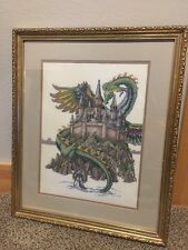Completed Framed Teresa Wentzler Dragon Castle Fantasy Cross Stitch 23x19