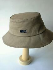 NEW OBEY World Wide Bucket Hat Khaki Cotton One Size Flexfit  MSRP $44.00