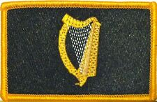 IRISH Flag Iron-On Morale Patch Black & Gold Version  Gold Border #26
