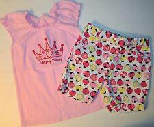 NWT DISNEY girls pink CROWN Sleeping Beauty TOP + GYMBOREE LADYBUG Shorts* 3 4
