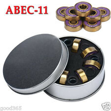 Dark Wolf Skateboard Bearings Titanium ABEC-11 Purple Gold 8pcs + 4x Spacer Kits