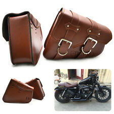 2 X Motorcycle Saddle Bags Side Storage Tool For Harley Sportster XL883 XL1200