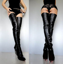 CQ COUTURE EXTREME STRETCH LUXE OVERKNEE BOOTS STIEFEL LEATHER BLACK SCHWARZ 38