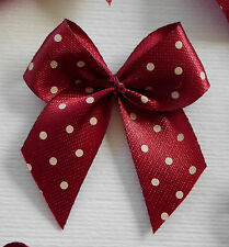 100! Pretty Polka Dot Bows - Deep Burgundy Red Bow Embellishments For Cardmaking