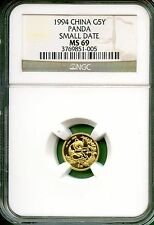 CHINA  1994  1/20 OZ   PANDA GOLD SMALL DATE   NGC MS 69
