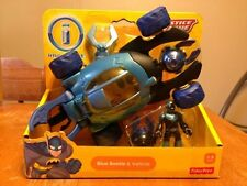 NEW FISHER-PRICE BATMAN IMAGINEXT BLUE BEETLE & VEHICLE JUSTICE LEAGUE