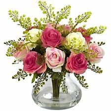 Nearly Natural Rose and Maiden Hair Floral Arrangement W/ Vase- Assorted Pastels