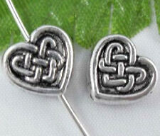 Free Ship 20Pcs Tibetan Silver Heart And Tie Spacer Beads 10x9mm