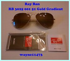 New Ray Ban RB3025 Large Aviator 001/51 Size 58-14 Gradient Gold Frames