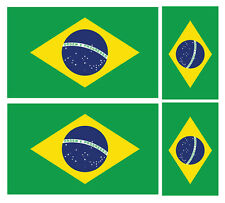 4 X BRAZILIAN BRAZIL FLAG VINYL CAR VAN IPAD LAPTOP STICKER