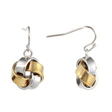 """Women's Fashion Two Tone Band Knot Dangle Hook Earrings 1-1/4"""" Long"""