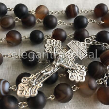 XL 10MM Natural Agate BEAD ROSARY & Pardon crucifix catholic NECKLACE Men's GIFT