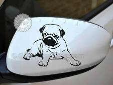 Cute Pug Puppy Dog Sticker Car Wing Mirror Vinyl Graphic X2 Various Colours