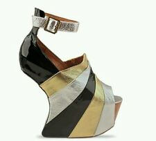 Jeffrey Campbell Rockstar Heeless Wedge Black Silver Gold Size 6