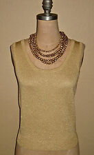 ST. JOHN KNITS-BASICS GOLD METALLIC SANTANA KNIT SWEATER-$495-PETITE