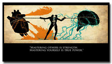 Mastering Yourself - Motivational Quotes Art Silk Fabric Poster 13x24""