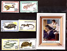 ALBANIE bloc et timbres : les reptiles,bloc sur portrait-tableau  293T4