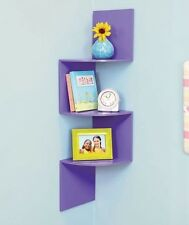 Purple Corner Wall Shelves Zig Zag Wooden Shelf Display Accent Girl Room Decor
