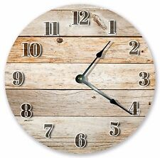 """10.5"""" RUSTIC BROWN WOOD BOARDS CLOCK - Large 10.5"""" Wall Clock Home Décor - 3071"""