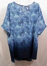 """3X 4X Catherines womens top blouse bust 64"""" L31"""" Back 33"""" blue white"""