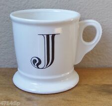 "Anthropologie Monogram/Alphabet/Initial Shaving Style Mug White/Black Letter ""J"""