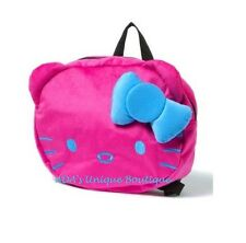 Hello Kitty Backpack Pink Neon Plush 3D Bow Girls School Book Bag Sanrio NWT
