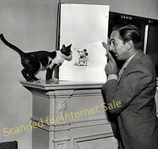 RARE Photo 1930 Walt Disney w MICKEY MOUSE Drawing + His CAT ~ Disney Land CA