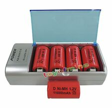 5pcs D Size 1.2V 13000mAh Red Rechargeable Battery Cell + 9V C D AA AAA Charger