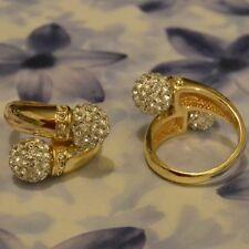 Dolly-bijoux Fantaisie Bague T56 à 62 Croisé Boule 10mm  Pavé Diamant Cz
