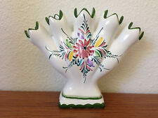 Vintage Five Finger Vase Made in Portugal by RC & CL Handpainted and Numbered