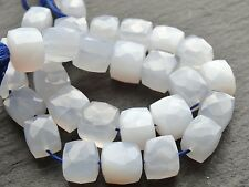 "HAND FACETED NATURAL CHALCEDONY CUBES, approx 9mm, 10"", 28 beads"