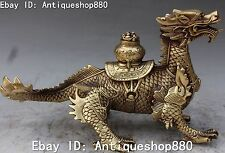 "11""Collect Chinese Bronze Feng Shui Wealth Dragon Dragons Treasure Bowl Statue"