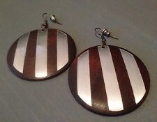 "Wood Large Disc Earrings With Metal Stripes * 1 7/8"" Pierced!"