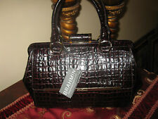 NWT BRAHMIN FRAME SATCHEL ESPRESSO BROWN CROC EMB LEATHER LA SCALA DOCTORS BAG