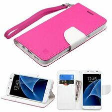 For Samsung Galaxy S7 Hot Pink White Leather Fabric Case w/stand Lanyard