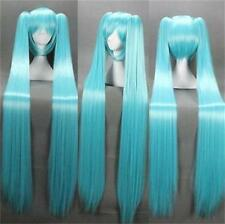 Vocaloid Hatsune Miku + 2 Ponytails Blue Cosplay Anime Long Wig +hairnet