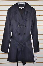 NWT Women's DKNY Double Breasted Trench Coat with Detachable Hood. Sz. L - NAVY