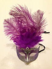 Feather Venetian Masquerade Costume Ball Prom Party Wedding Silver Purple Mask