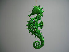 Nautical Marine Life Seahorse Green Glitter Figurine Hanging Ornament NWT