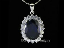 Mysterious Sapphire Blue Oval 925 Sterling Silver CZ Pendant .925 Fine Jewelry